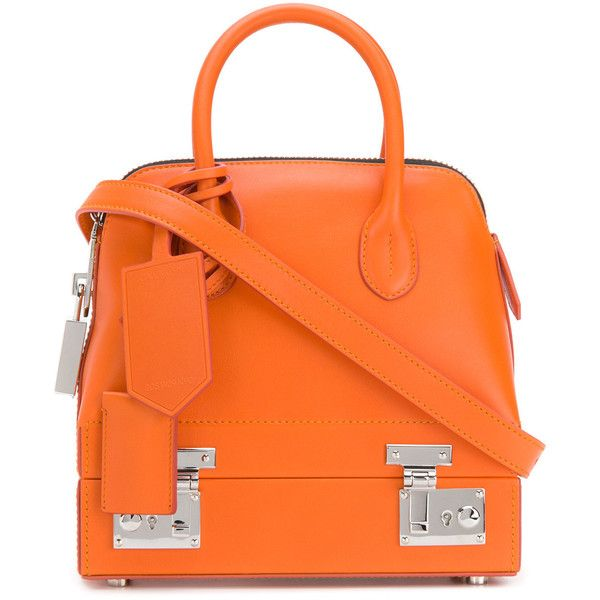 Calvin Klein 205W39nyc mini Bugatti bag ($3,190) ❤ liked on Polyvore featuring bags, handbags, shoulder bags, orange, mini handbags, mini shoulder bag, orange shoulder bag, miniature handbags and round purse