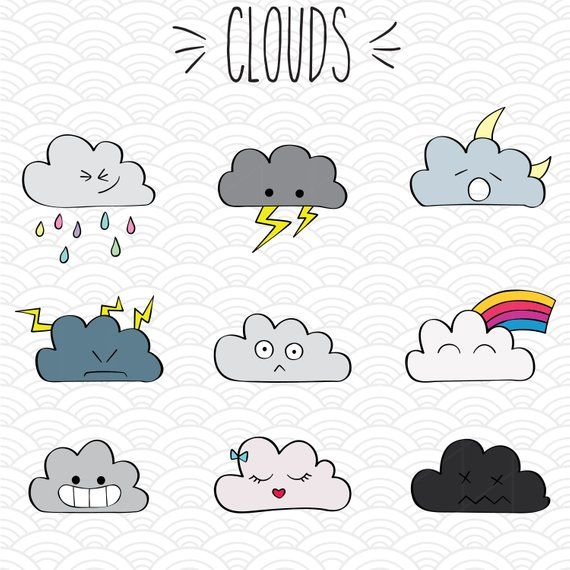 9 Kawaii Clouds Colorful Clip Art Bundle Hand Drawn Cute Weather Illustration Rainbow Moon And Lightning Drawing Png Dxf Eps Pdf Cute Easy Drawings Cute Doodles Easy Doodle Art