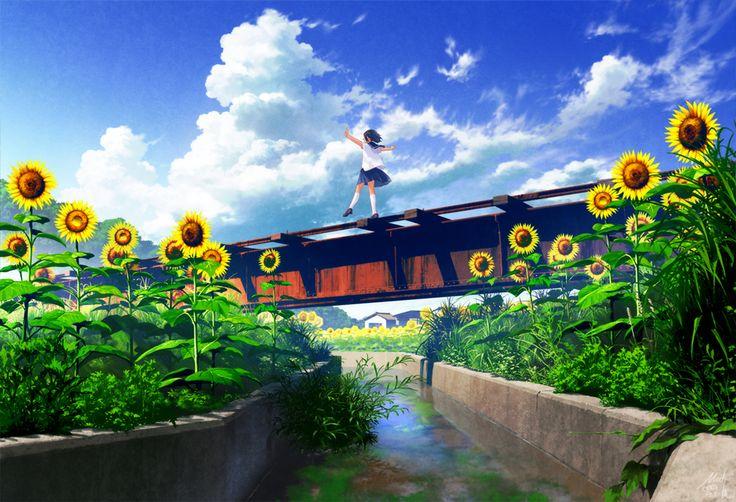 Anime school girl, sunflowers, , river,