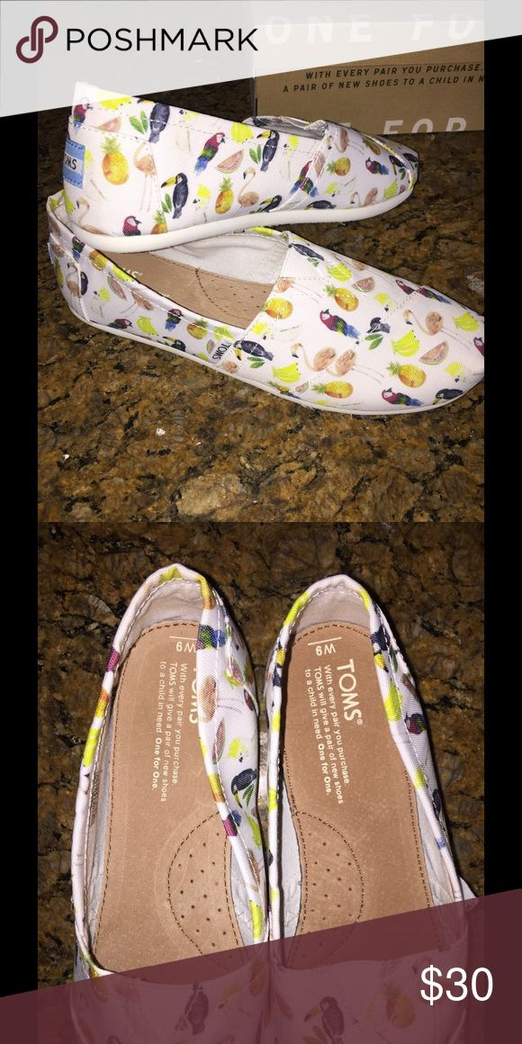 TOMS Classic White Canvas Printed Parrots TOMS Shoes Flats & Loafers