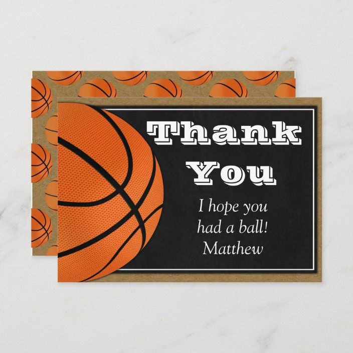 Basketball Thank You Card For B Ball Players Zazzle Com In 2021 Birthday Thank You Cards Your Cards Thank You Cards