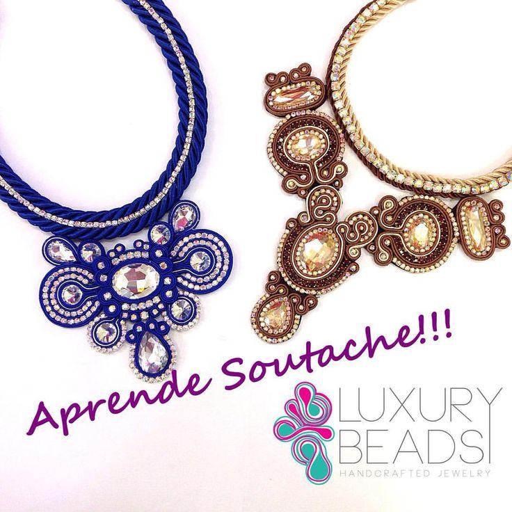 Estas piezas fueron creadas por una alumna en nuestro taller de #soutache tu también puedes aprender , escríbenos !! •••••••••••••••••••••••••••••••••••••••••••••• #accesorios #accesories #luxurybeads #necklace #handmade #bleu #fall2015 #collar #statement