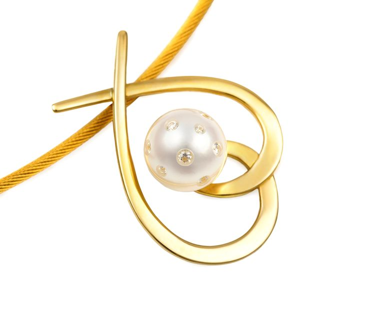 """Lust Aria Pendant"", 18ct yellow gold with 11mm white South Sea pearl embellished with 0.18ct brilliant cut white diamonds."