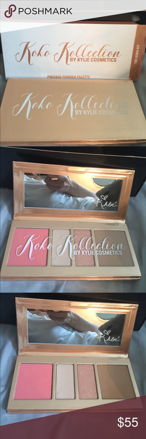 NIB AUTH KYLIE KOKO KOLLECTION FACE PALETTE 🚫NO TRADES, thx!🚫 Guaranteed 100% authentic Kylie Cosmetics the KOKO KOLLECTION pressed powder face palette contains (1) satin pressed powder BLUSH in Rodeo Drive - a warm pink satin. There are (2) pressed ILLUMINATING POWDERS - the first on left is Troop Beverly Hills - a shimmering soft gold and the one on the middle right is 90210 - a shimmering golden Peach. The (1) matte pressed powder bronzer in Hollywood Blvd on the far right is a satin…