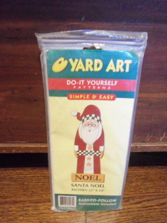 Vintage Yard Art Do It Yourself Pattern Santa Noel 21 Inches X 53 Inches Yard Art Pattern Art