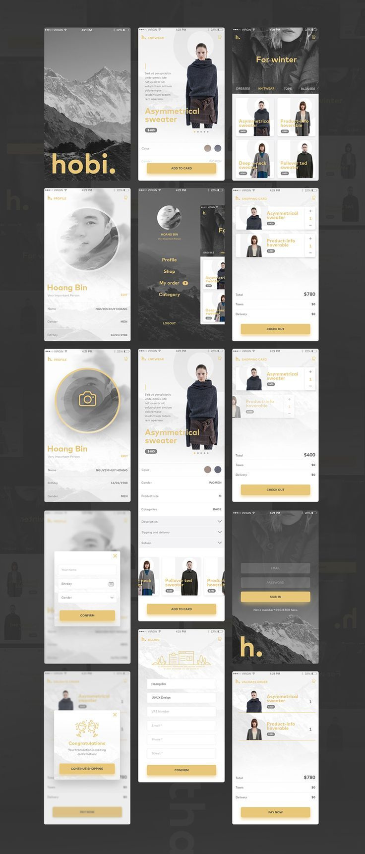 Hobi - Free UI PSD Mobile App. If you like UX, design, or design thinking, check out theuxblog.com