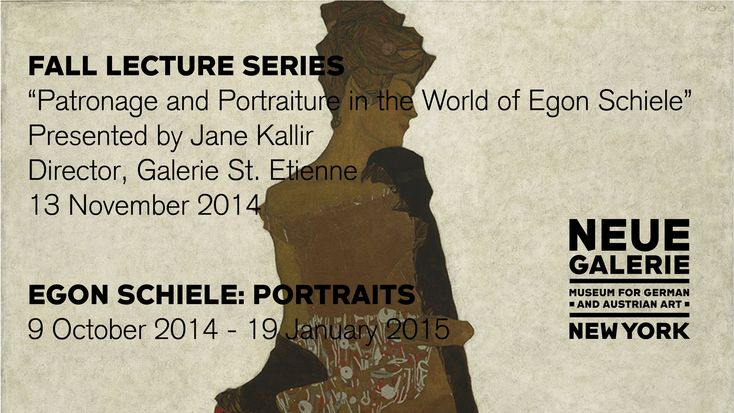 "Jane Kallir, author of Egon Schiele's catalogue raisonnée and director of Galerie St. Etienne, presents the season's third lecture, ""Patronage and Portraiture in the World of Egon Schiele."""