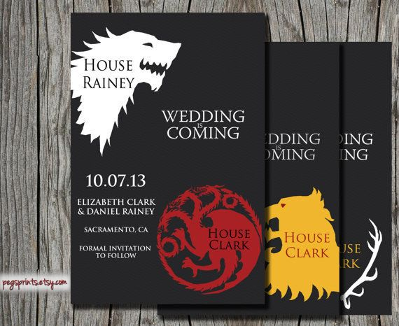 Game of Thrones | 24 Adorably Geeky Wedding Invitations.                                        Lmao