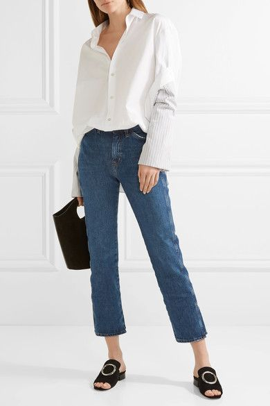 M.i.h Jeans - Cult Cropped High-rise Straight-leg Jeans - Blue
