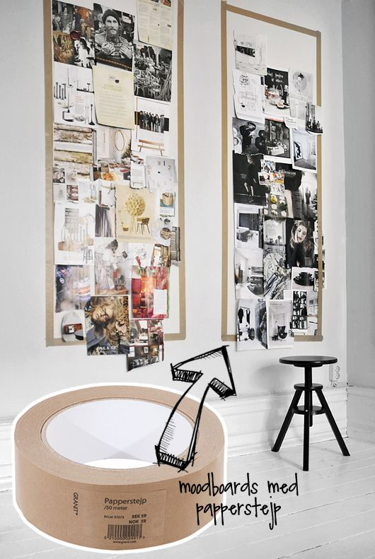 Moodboards with paper tape, wonder if painters tape would be ok for the wall and not damage the actual paint. Very cute idea!