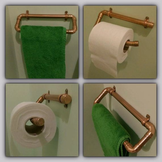 Bespoke real copper pipe toilet roll holder and cloakroom / en suite towel rail set.