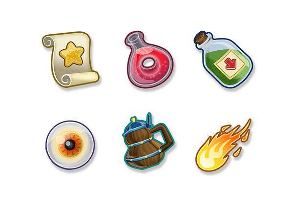 FreeRealm's Item Icons  by Cesar Kobashikawa, via Behance