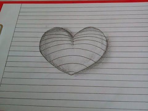 3D Herz malen. Wie zeichnet man ein Herz mit Bleistift ...