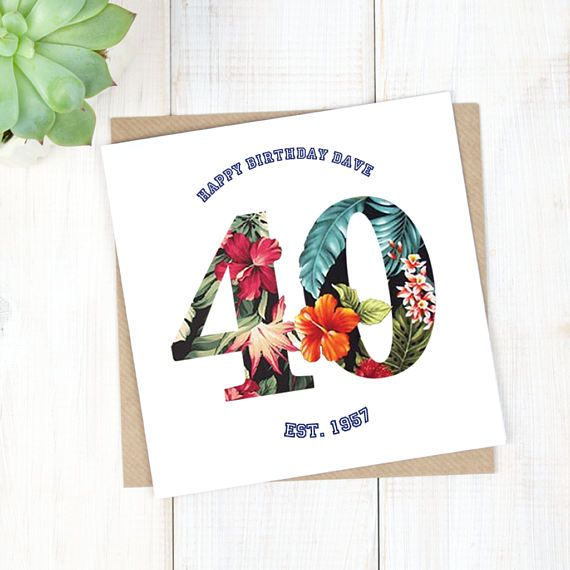 40th Birthday Card - Personalised Birthday Card - Hawaiian Birthday Card - Birthday Age Card - Mens Birthday Card - Milestone Birthday Card - Etsy - LetsDreambyChiChiMoi