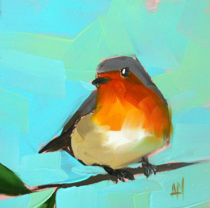 robin no. 39 original bird oil painting by moulton 5 x 5 inches prattcreekart