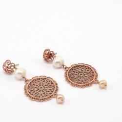 Pendientes de plata rosada y perlas. 100% artesania. Tax-free $49.20