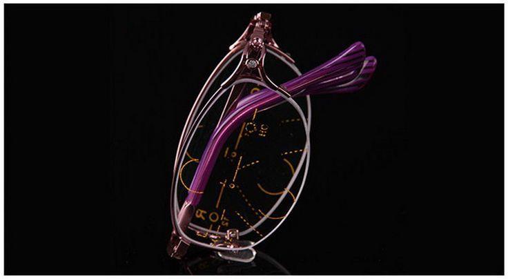 = CLARA VIDA = Intelligence Progressive Multifocal Folding Reading Glasses Bifocal Pink womens Ultra Light +1 +1.5 +2 TO +4