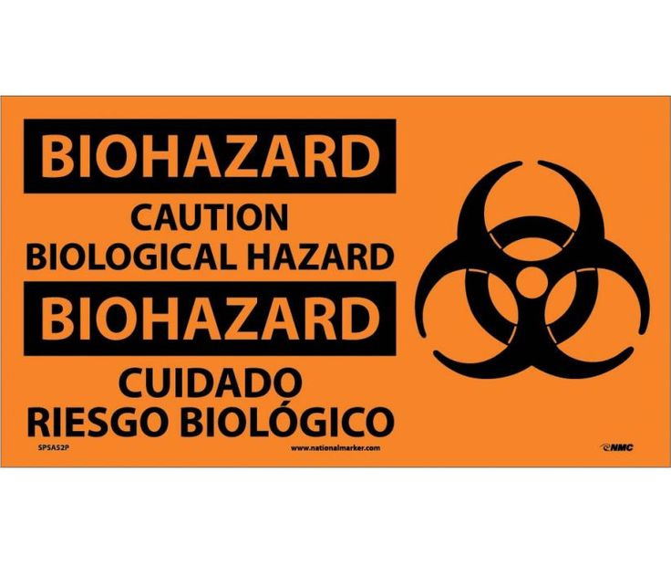 BIOHAZARD, Caution BIOLOGICAL HAZARD (Bilingual W/GRAPHIC), 10X18, PS Vinyl