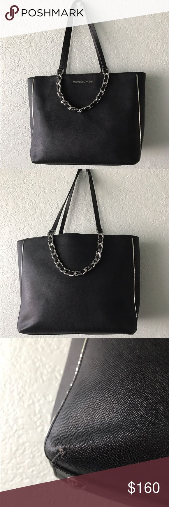 Michael Kors Tote Bag Gently used Michael Kors Tote in Black // Minor wear at the bottom edges and very minor wear inside of bag // Stuffing filled to keep the shape // No measuring tape to measure the size of bag // price firm Michael Kors Bags Totes