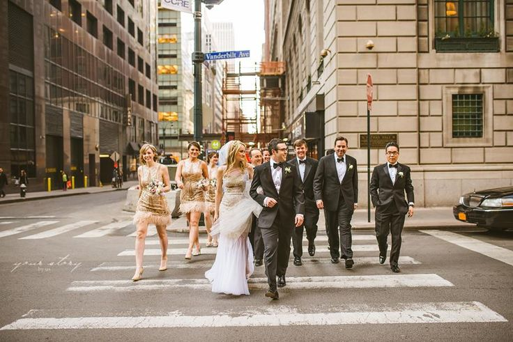 Love all these #bridesmaid strutting along in #NYC. They look stunning in their SUE WONG cocktail #dresses! #suewong #wedding #gown #marriage #love
