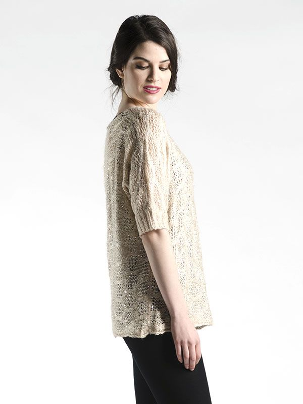 One Size Glitter Fuzzy Sweater in Champagne - With sequins all throughout this cozy soft sweater, you'll love how it keeps you warm and cozy in those cold months!  Wear with a long sleeve tee underneath for a full sweater look, or just pair with a tank underneath (as shown on our models).  Glitter and glam, all in one! Available in Black and Champagne.