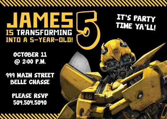 transformers bumblebee birthday invitation on etsy 1350