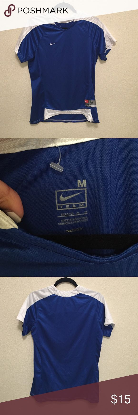 Blue and White Nike Shirt Labeled as Men's (10-12) Nike Workout shirt. Super comfy! Should fit a Women's S/M Nike Tops Tees - Short Sleeve