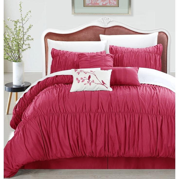 Chic Home Frances 7-piece Pink Pleated and Ruffled Comforter Set,