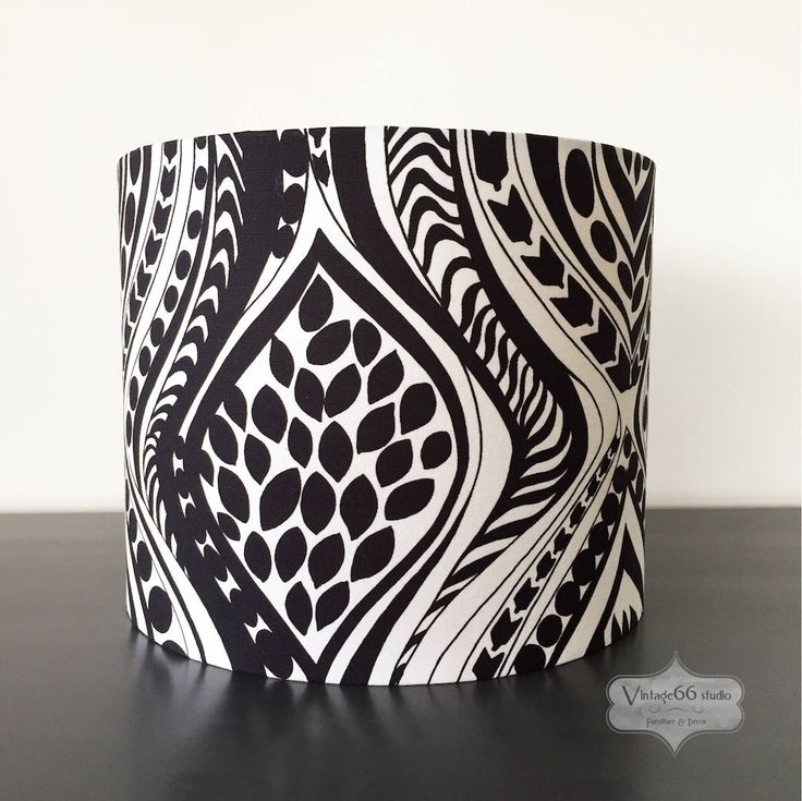 Vintage Black & White Fabric Drum Lampshade, retro, abstract, MC, MCM, Mid Century, handmade, study lamp, living room, table lamp by Vintage66studio on Etsy