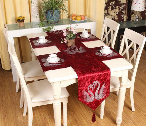 Red Velvet Table Runner With Silver Swan Motifs