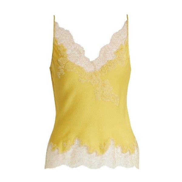 Carine Gilson Lace-trimmed silk-satin cami top ($750) ❤ liked on Polyvore featuring tops, yellow, camisole tank top, lace trim camisole, yellow cami, lace trim tank top and cami top