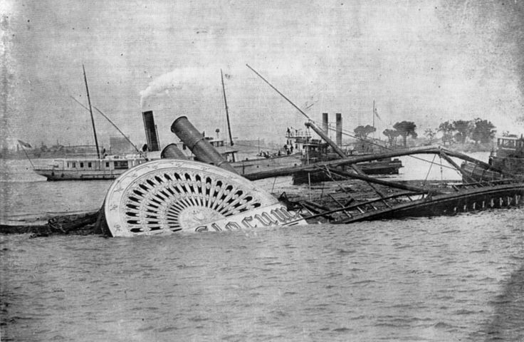 On June 15, 1904 the excursion steamboat 'General Slocum' burst into flames on the East River of New York taking the lives of 1,021 people.  The General Slocum disaster was the New York area's worst disaster in terms of loss of life until the September 11, 2001 attacks, and remains the worst maritime disaster in the city's history.