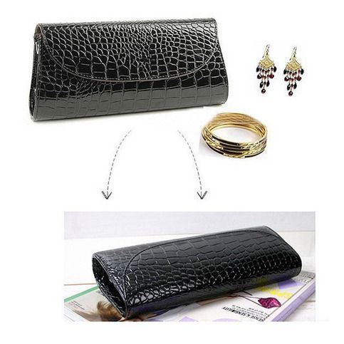 Details: Material : PU Leather Color : White,Black Weight : About 280g Length : 20cm(7.87'') Height : 8cm(3.15'') Width : 5cm(1.97) Gender : Women Style : Fashion Pattern : Solid Inner Pocket : Yes Closure : Cover  Package include: 1* Clutch