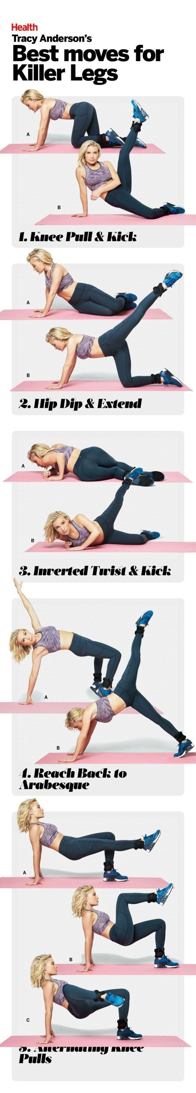 Tracy Anderson's Best Moves for Killer Legs: Follow these five moves to get your legs slim, toned, and super sexy. #HEALTHxTA   Health.com