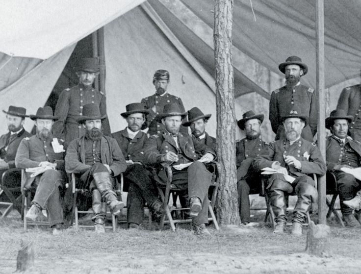 Grant, center, with officers at City Point, VA, his base for the 10 month Siege of Petersburg.