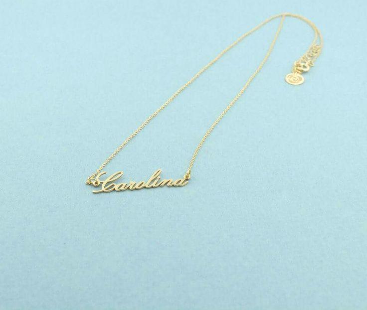Colar em prata 925 banhada a ouro 18kl com nome  #personalizar #nomes #letras #roseblossom
