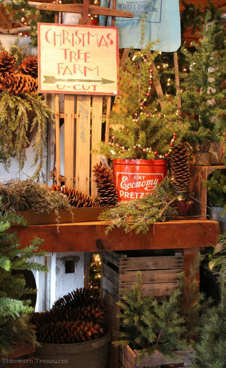 Christmas Tree Farm Display Featuring Lifelike Trees Greens Sleds Hand Painted Signs And More Christmas Tree Farm Christmas Tree Lots Cool Christmas Trees