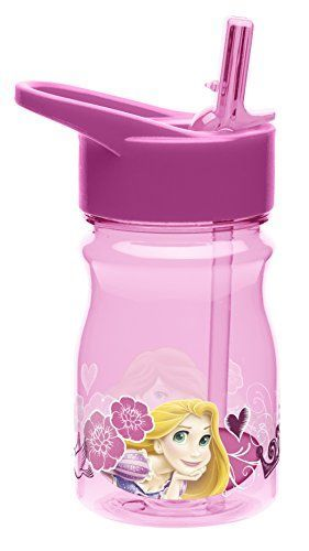 Zak Designs Tritan Water Bottle with FlipUp Spout and Straw with Disney Princess Graphics Breakresistant and BPAfree Plastic 12 oz *** You can find more details by visiting the image link.