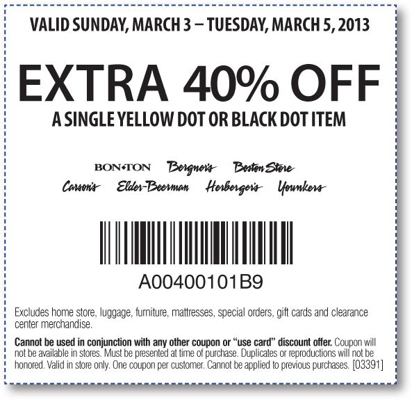 photo about Carson Pirie Scott Printable Coupons titled Carsons yellow dot discount coupons / Jct600 finance bargains