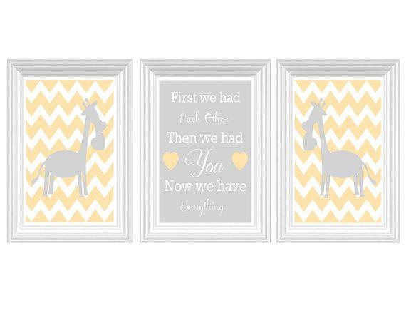 Giraffe Nursery Art Chevron Quote Yellow Gray by FMDesignStudio, $35.00