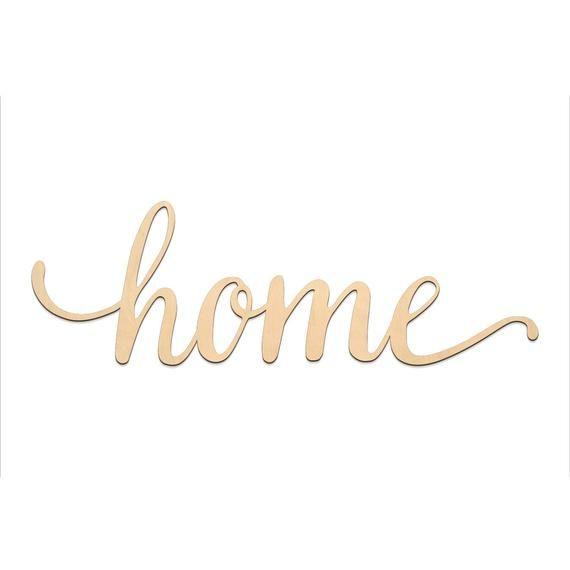 Home Script Word Wood Sign Wooden Words Sign Art Rustic Cursive