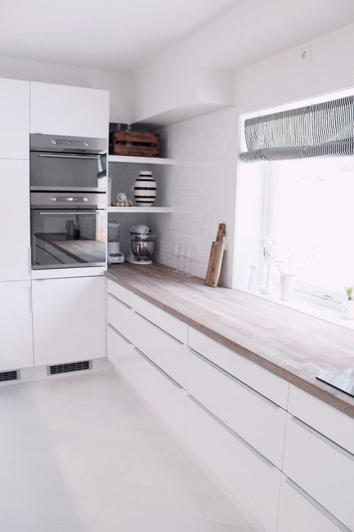 Corner. White kitchen with a wooden worktop