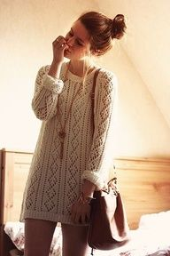 This outfit consists of: -Long white sweater -gold long pendant necklace -leather bag -gold cuff bracelet Hairstyle: -messy bun Could be cute with: -thin leather belt around waste -thick infinity scarf -dark colored pants or leggings -leather mid-calf boots or riding boots