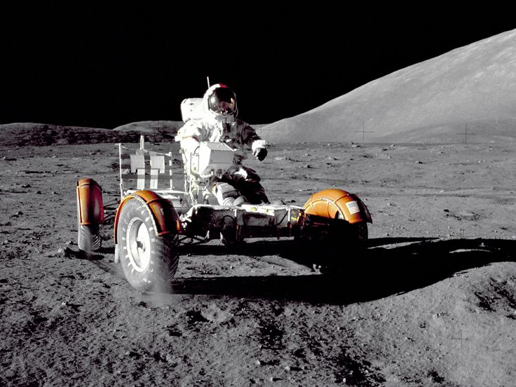 Apollo 17 — The Final Moon Landing    Apollo 17 mission commander Eugene A. Cernan makes a short checkout of the Lunar Roving Vehicle during the early part of the first Apollo 17 extravehicular activity at the Taurus-Littrow landing site in 1972. Harrison H. Schmitt and Ronald E. Evans rounded out the crew, the last humans to set foot on the moon (to date).