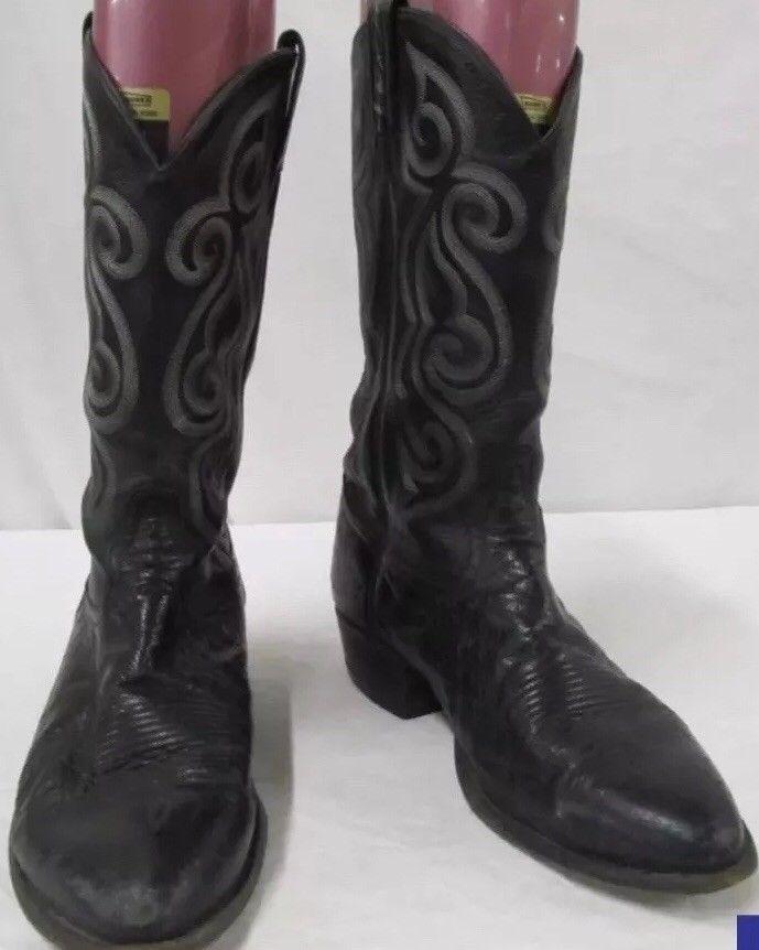 92bac0e5d8c Tony Lama 8410 Black Smooth Ostrich Leather Cowboy Boots Size 10.5 ...
