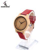 Bobo bird j09 простой стиль бамбука женщин часы бамбук циферблат подлинная Красная Кожа PU Группа Кварцевые Часы Relojes mujer Принять OEM