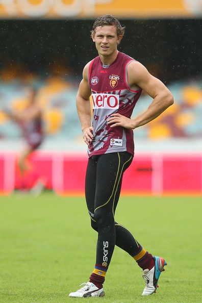 Ryan Lester looks on during a Brisbane Lions AFL training session at The Gabba on March 27, 2014 in Brisbane, Australia.