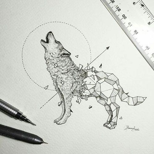 Imagem de wolf, art, and drawing