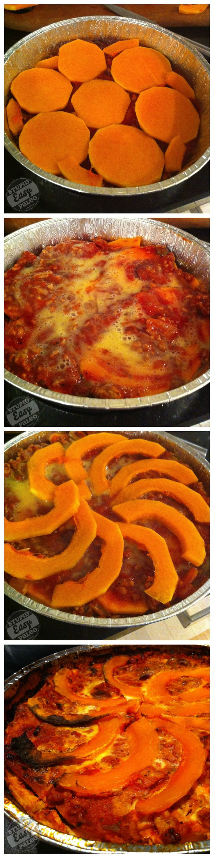 Butternut Squash Lasagna layering steps from http://stupideasypaleo.com/2013/03/25/butternut-squash-lasagna/. Check out the recipe link for more!