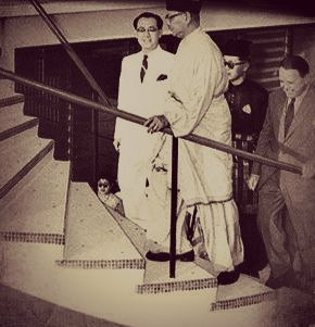 1956 - A year before Merdeka, Tunku Abdul Rahman, as Federation Chief Minister, inspects the new Kuala Lumpur Municipal Airport at Sungei Besi, accompanied by Transport Minister Ong Yoke Lin (left), the Raja Muda of Selangor and DCA director Max Oxford (right).